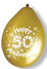 "10"" 50th Anniversary Latex Balloons 6 Packs Of 10"