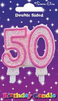 Milestone Pink Candle Number 50 (6 Pack)