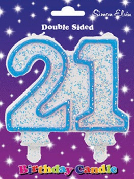 Blue Candle Number 21 (Pack Of 6)