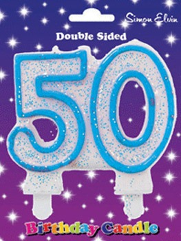 Blue Candle Number 50 (Pack Of 6)