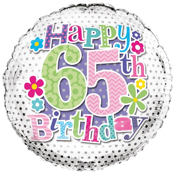 18 Happy 65th Birthday Flowers Foil Balloons