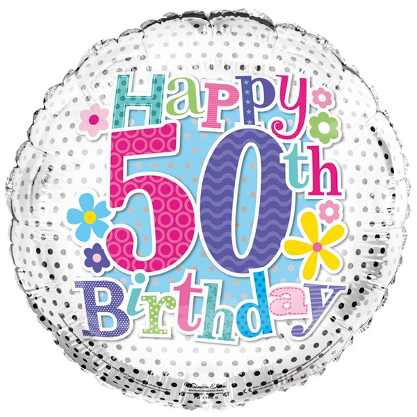 18 Happy 50th Birthday Flowers Foil Balloons