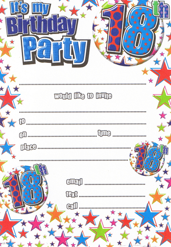 Male 18th Birthday Party Invitations x20