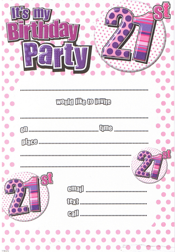 Female 21st Birthday Party Invitations x20