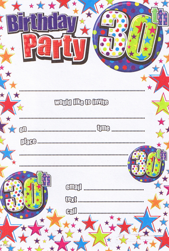 Male 30th Birthday Party Invitations x20