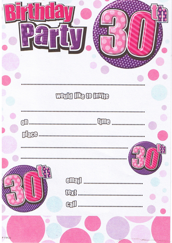 Female 30th Birthday Party Invitations x20