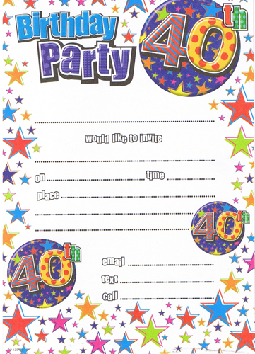 Male 40th Birthday Party Invitations x20