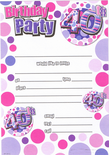 Female 40th Birthday Party Invitations x20