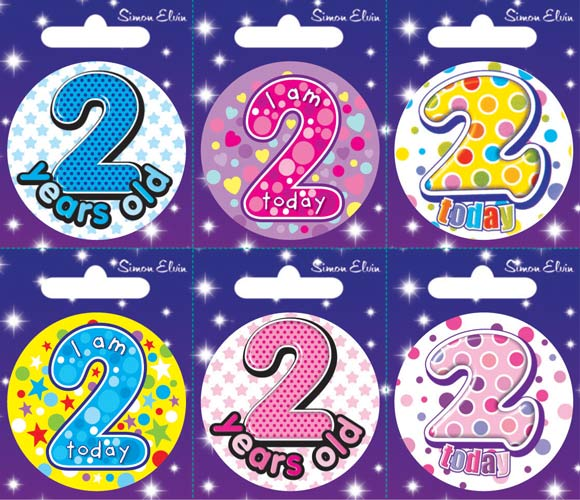 Age 2 Mixed Small Badges x6