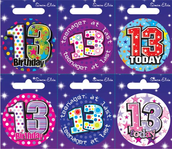 Age 13 Mixed Small Badges x6
