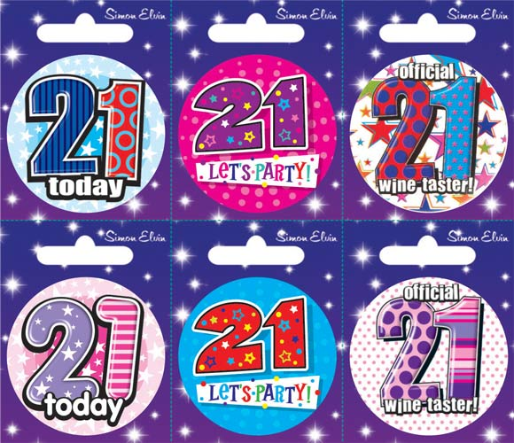 Age 21 Mixed Small Badges x6