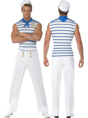 Fever Male French Sailor Fancy Dress Costumes