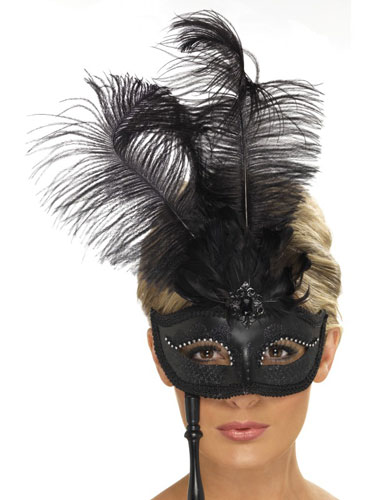 Black Baroque Fantasy Eyemask With Feathers x3
