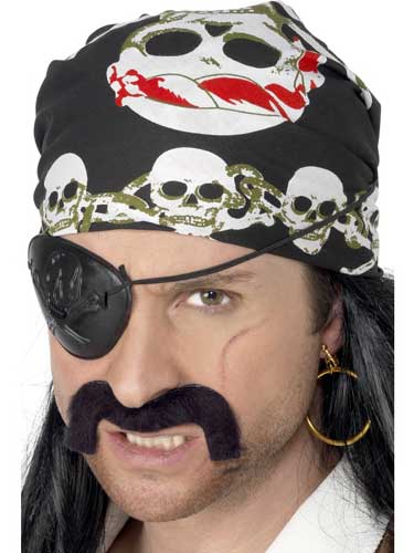 Black And White Pirate Bandanna with skull and crossbones