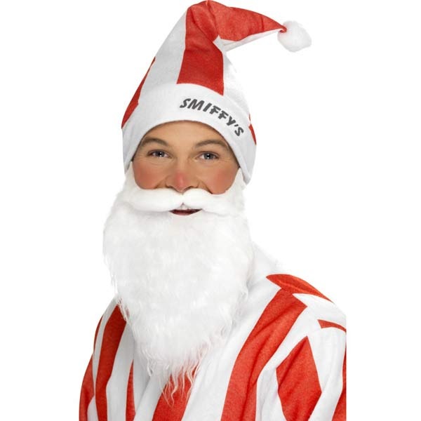 Red And White Striped Sport Santa Hat And Beard Set