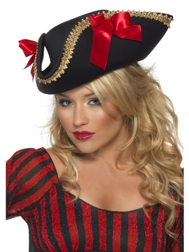 Black Fever Pirate Hat With Bows