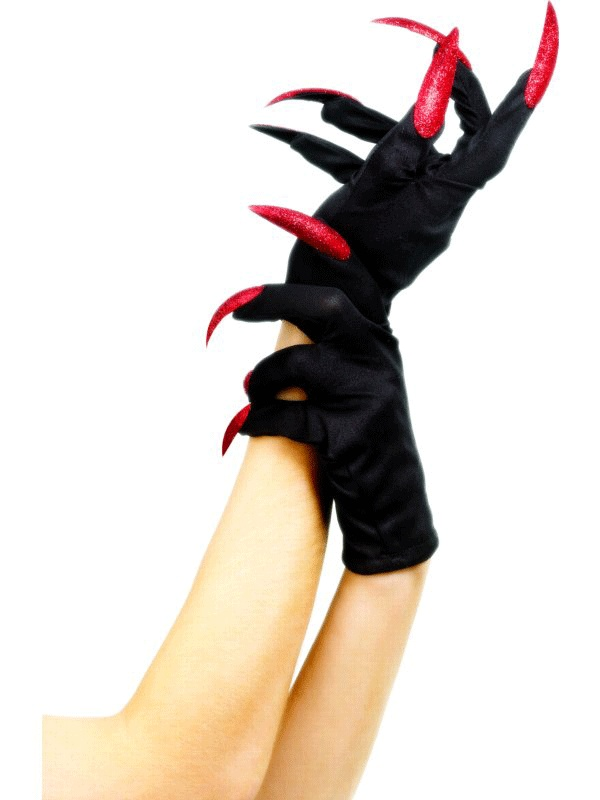 Halloween Gloves Black Red with Red Nails