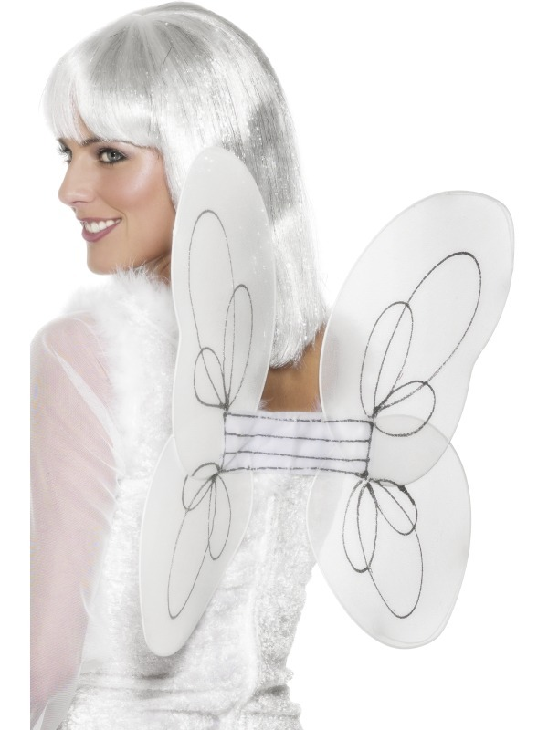 White And Silver Angel Glitter Wings
