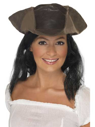Brown Leather Look Pirate Hat With Hair