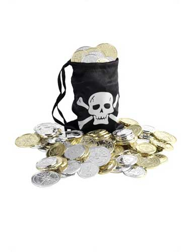 Pirate Coins And Black Bag