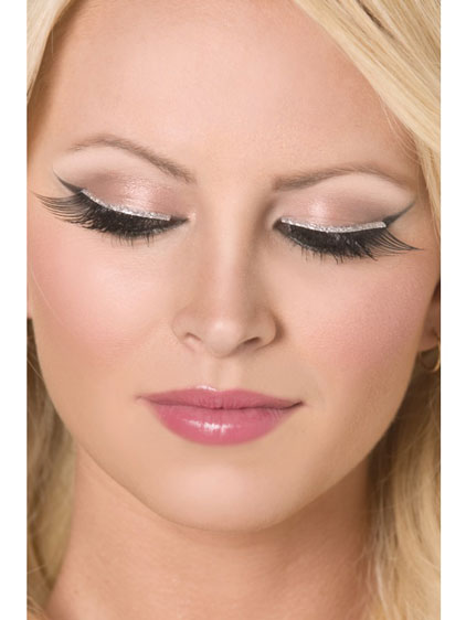 Black And Silver Glitter Eyelashes x6
