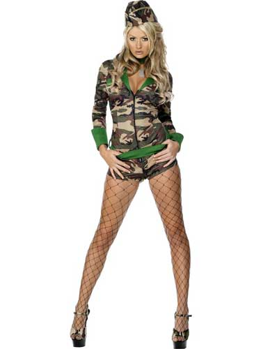 Fever Combat Chick Fancy Dress Costumes
