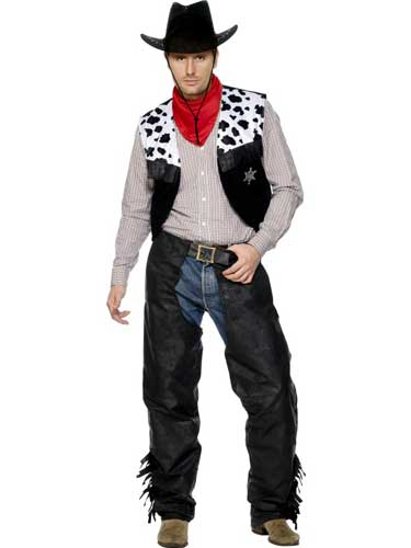 Leather Cowboy Male Fancy Dress Costumes