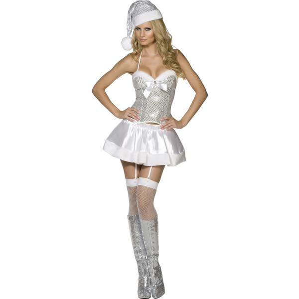 Fever Holiday Cheer Fancy Dress Costumes Silver And White