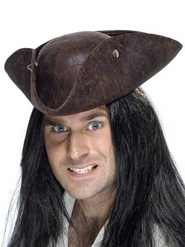 Brown Leather Look Tricorn Hat