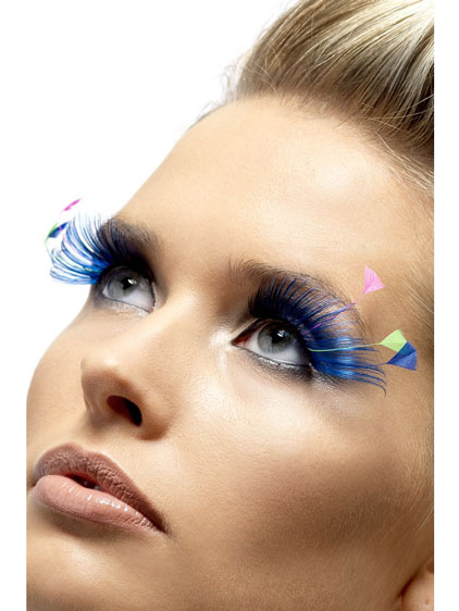 Blue And Neon Feather Eyelashes x6