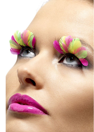 Neon Multi Coloured Feather Eyelashes x6