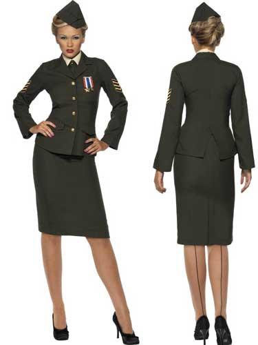 Wartime Officer Female Fancy Dress Costumes