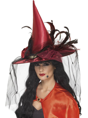 Deluxe Witch Hats Deep Red