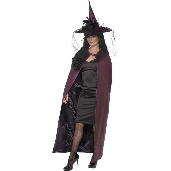 Reversible Purple And Black Cape