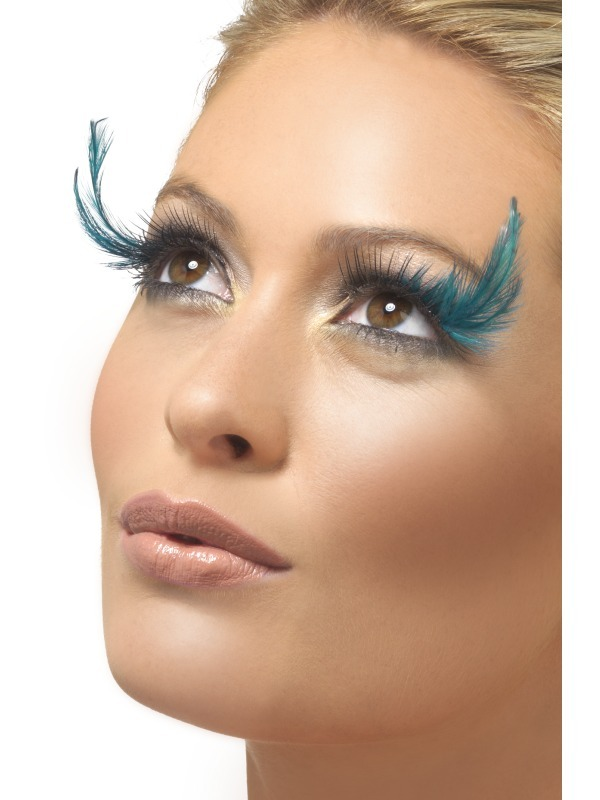 Blue And Green Feather Eyelashes x6