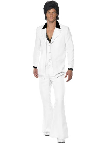 1970s Mens White Suit Fancy Dress Costumes