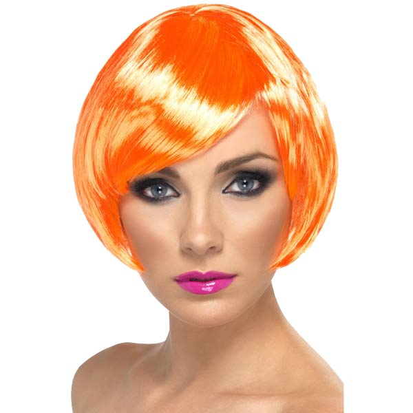 Fire Coral Babe Bob Wigs With Fringe