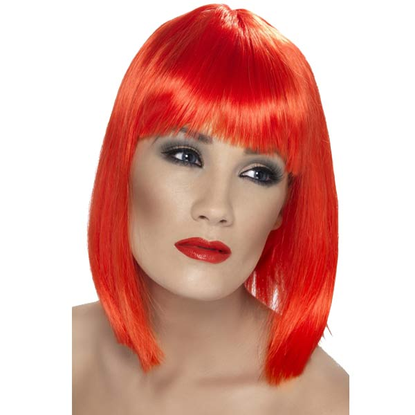 Neon Red Glam Wigs With Fringe