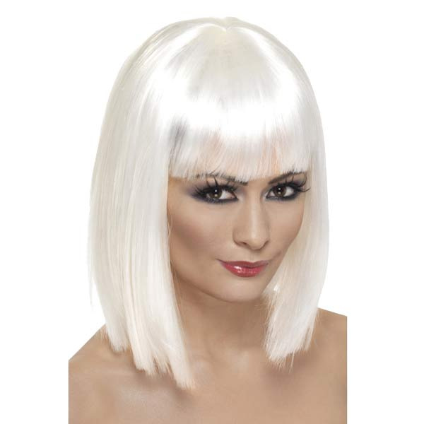 White Glam Wigs With Fringe