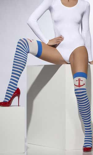 Blue And White Striped Anchor Stockings