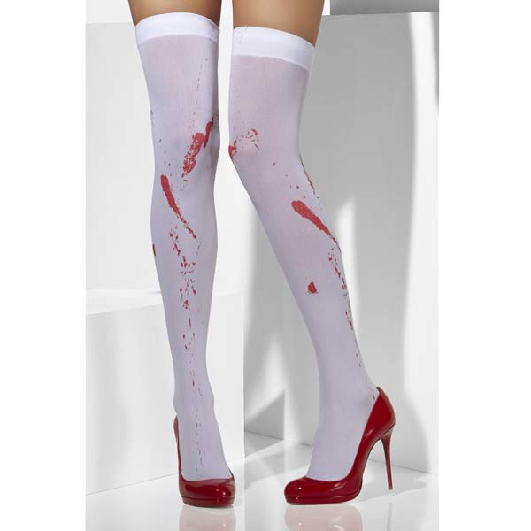White And Red Blood Stained Thigh High Stockings