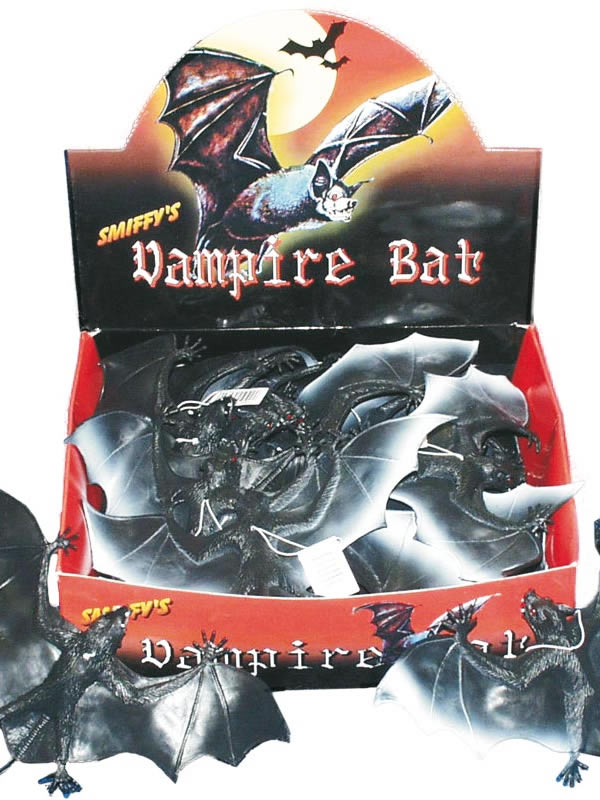 Large Vampire Bat Black PVC On Elastic 24ct