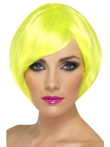 Neon Yellow Babe Bob Wigs With Fringe