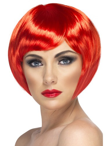 Red Babe Bob Wigs With Fringe