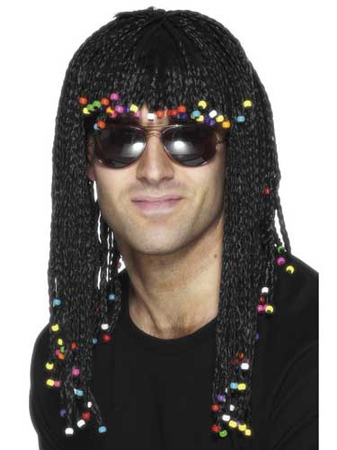 Black Braided Wig With Beads