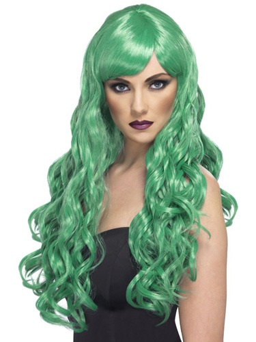 Long Green Desire Wigs With Fringe