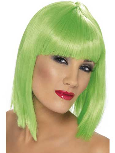 Neon Green Glam Wigs With Fringe