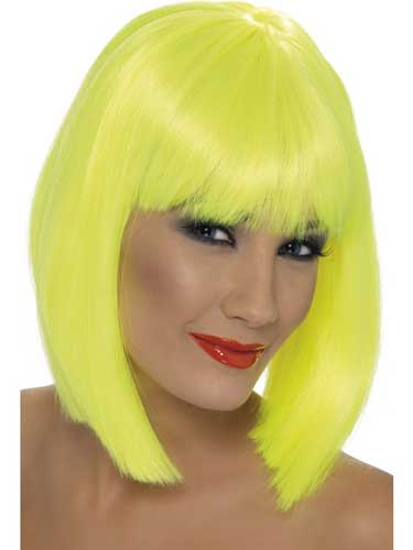 Neon Yellow Glam Wigs With Fringe