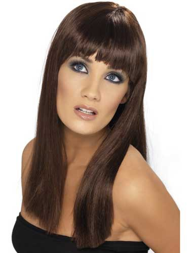 Brown Glamourama Wigs With Fringe