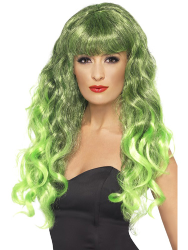 Green And Black Siren Wigs With Fringe